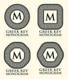 Griechischer Schlüsselverzierungs-Monogramm-Satz, Vektor Lizenzfreie Stockfotografie