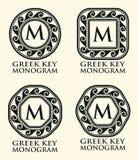Griechischer Schlüsselverzierungs-Monogramm-Satz, Vektor Stockbild