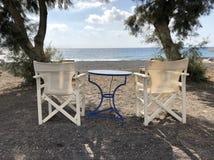 Griechischer Strandmorgen lizenzfreie stockbilder