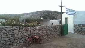 Griechischer Tavernen-Eingang Stockfotos