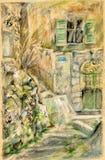 Griechisches Haus mit grünen Vorhängen Stockfotos