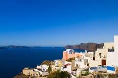 griechisches Inselarchitekturseeansicht santorini Stockfoto