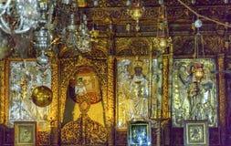 Griechisches orthodoxes Ikonen-Kirchen-Geburt Christis-Altar-Kirchenschiff Bethlehem Palästina Lizenzfreies Stockbild