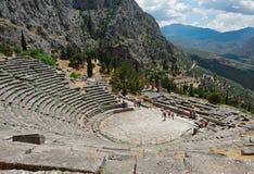 Griechisches Theater in Delphi, Griechenland Lizenzfreies Stockfoto
