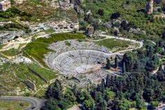 Griechisches Theater von Syrakus Sizilien lizenzfreies stockbild
