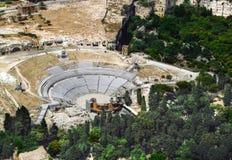 Griechisches Theater von Syrakus Sizilien Lizenzfreies Stockfoto