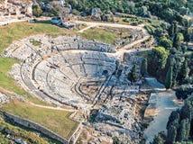 Griechisches Theater von Syrakus Sizilien Stockfotos