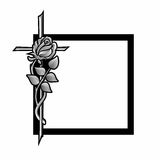 Grief. Funeral decoration with black frame, cross and rose Stock Images