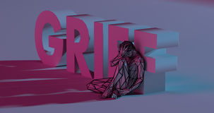 Grief - 3d render lettering near low poly man illustration. Depressed low poly man near Grief text sign, 3d render illustration stock illustration