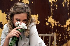 Grief of the girl. Girl, Grief of the girl, Portrait of the sad girl, Flowers stock photo