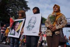 Grief for Mandela Stock Photo