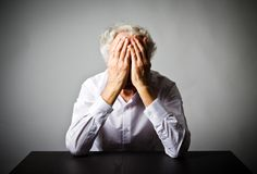 Grief. Old man in thoughts. Royalty Free Stock Image