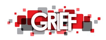 GRIEF red and grey overlapping squares banner. Vector vector illustration