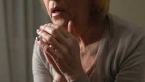 Grief-stricken woman crying unable to accept loss of relative, difficult period. Stock footage stock footage