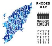 Griego Rhodes Island Map del Demographics stock de ilustración