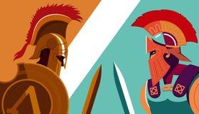 Griego Spartan Warrior contra el soldado troyano que lleva a cabo el escudo y s libre illustration
