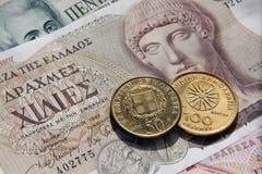 Grieken drachmes, bankbiljetten en muntstukken Stock Afbeelding