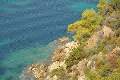 Grieken, overzeese kust, golven op zee royalty-vrije stock foto's