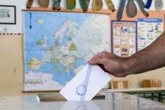 Grieken stemmen in bailout referendum royalty-vrije stock afbeelding