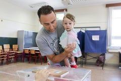 Grieken stemmen in bailout referendum royalty-vrije stock foto's