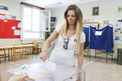 Grieken stemmen in bailout referendum royalty-vrije stock foto