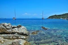 Griekenland, eiland ithaki-Mening van de zeekust dichtbij Kioni royalty-vrije stock afbeeldingen