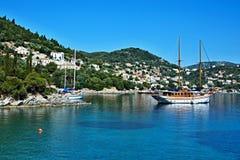 Griekenland, eiland ithaki-Mening van de zeekust dichtbij Kioni royalty-vrije stock fotografie