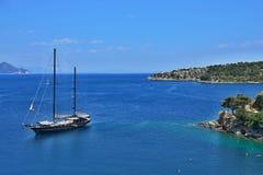 Griekenland, eiland ithaki-Mening van de zeekust in Kioni royalty-vrije stock fotografie