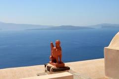 Griekenland, Eiland Santorini en het overzees Stock Fotografie