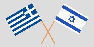 Griekenland en Israël Gekruiste Griekse en Israëlische vlaggen Officiële kleuren Correct aandeel Vector stock illustratie