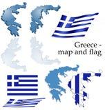 Griekenland - kaart en vlagreeks Royalty-vrije Stock Afbeeldingen