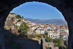 Griekenland-mening van het fort en de stad Nafplion Royalty-vrije Stock Foto