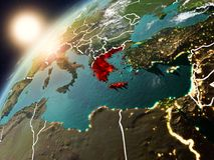Griekenland op aarde in zonsondergang Stock Foto's