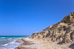 Griekenland, Rhodos, kustlijn van Middellandse Zee stock foto's