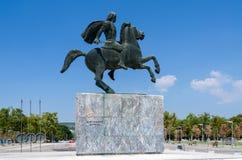 Griekenland, Thessaloniki Monument aan Alexander Groot op wat Stock Foto's