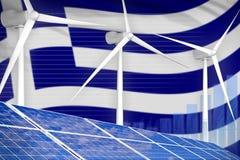 Griekenland zonne en digitaal de grafiekconcept van de windenergie - moderne natuurlijke energie industriële illustratie 3D Illus stock illustratie