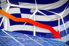 Griekenland zonne en windenergie die grafiek, pijl verlagen - milieu natuurlijke energie industriële illustratie 3D Illustratie stock illustratie