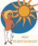 Grieks Apollo God van het Zon grappige beeldverhaal royalty-vrije illustratie