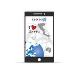 Grieks eiland Korfu op mobiele telefoonillustratie in kleurrijk Stock Foto's