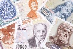 Grieks geld, een achtergrond Royalty-vrije Stock Afbeeldingen
