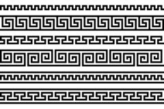 Grieks lijstwerk herhaald motief meander Vector naadloos patroon Eenvoudige zwart-witte achtergrond Geometrische vormen textielve royalty-vrije illustratie