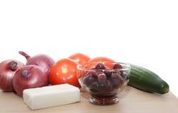 Grieks saladeingrediënt Royalty-vrije Stock Afbeeldingen