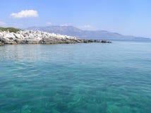 Grieks strand in Ionische Overzees Stock Foto