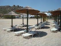Grieks strand, mykonos Stock Fotografie