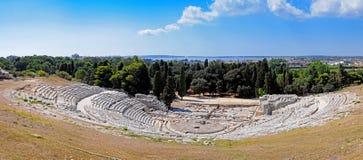 Grieks Theater - Panorama Royalty-vrije Stock Afbeeldingen