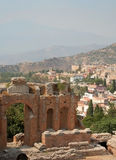 Grieks theater van Taormina stock fotografie