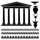 Grieks vaassilhouet, naadloos ornament, tempelinzameling Het pictogramreeks van reisgriekenland Stock Foto's