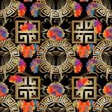 Grieks zeer belangrijk meander bloemen 3d naadloos patroon Vector abstracte bedelaars Stock Afbeelding