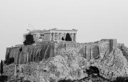 Griekse akropolis in zwart-wit Royalty-vrije Stock Afbeelding
