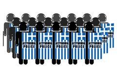 Griekse anti-Relpolitie Stock Foto's